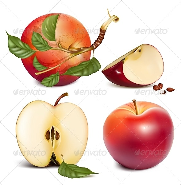 Ripe Red Apples with Green Leaves. - Food Objects
