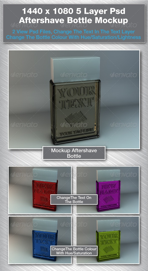 2 View 3d Rendered Aftershave Bottle Mockup - Beauty Packaging