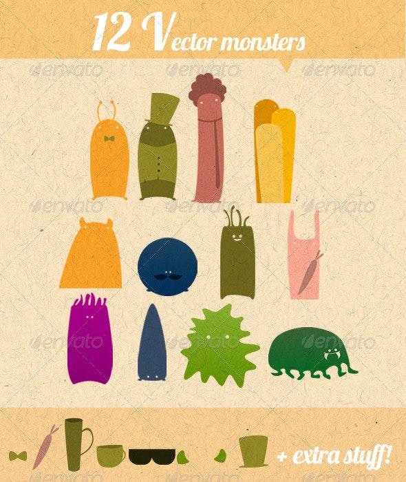 12 Vector Monsters  - Characters Vectors