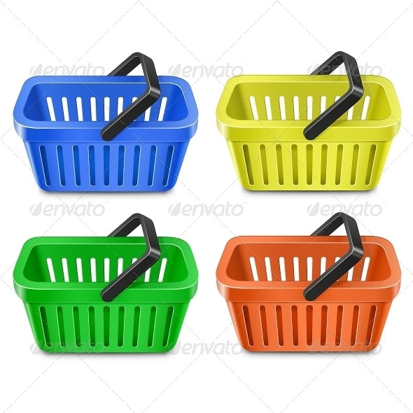 Set of Colorful Shopping Basket - Commercial / Shopping Conceptual