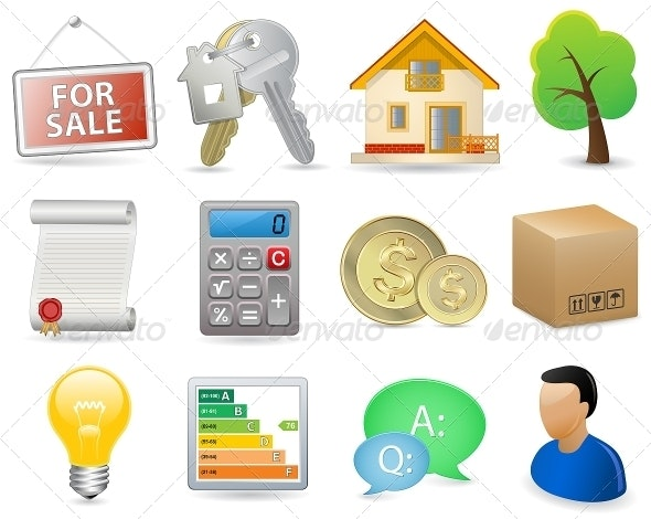 Real Estate Icon Set - Retail Commercial / Shopping