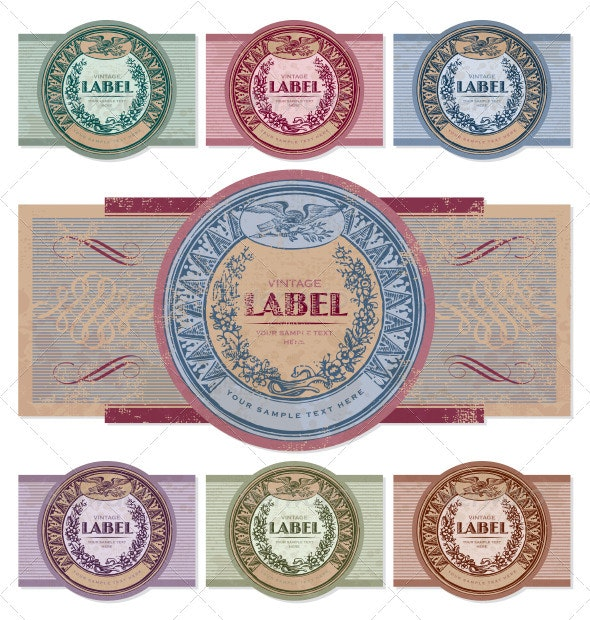 Vintage labels set (vector) - Decorative Vectors
