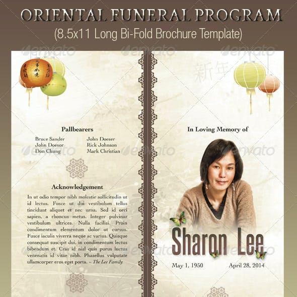 Oriental Style Bi-fold Funeral Program Template