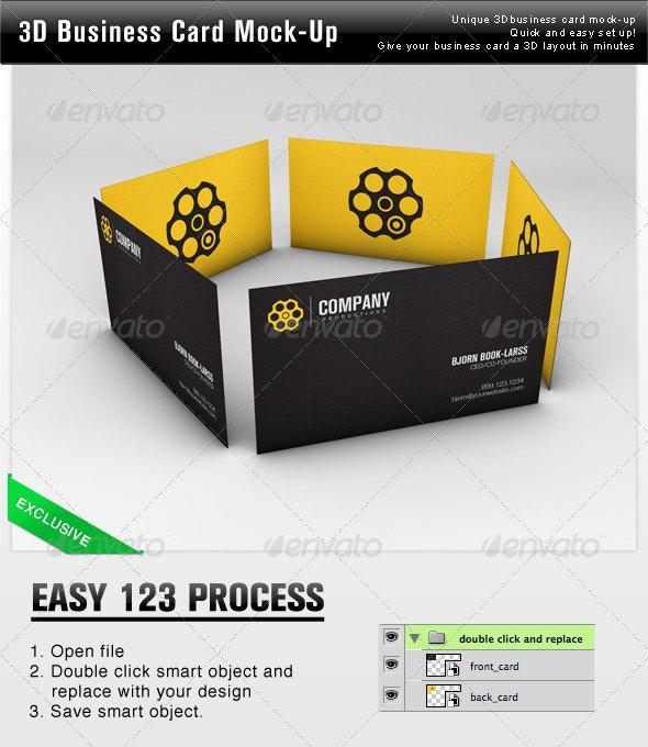 3D Business Card Mock Up - Business Cards Print