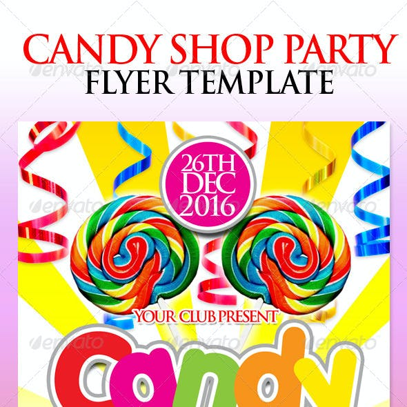 Candy Shop Party Flyer Template