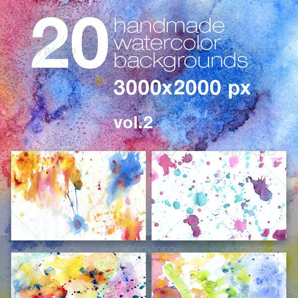20 Handmade Watercolor Texture Backgrounds