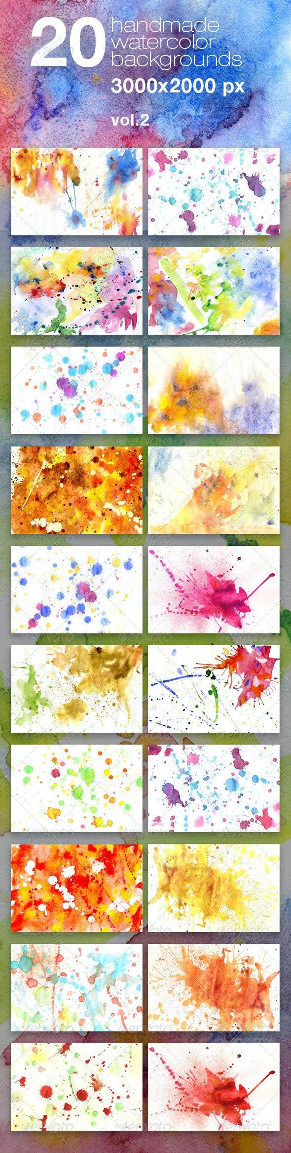 20 Handmade Watercolor Texture Backgrounds - Miscellaneous Textures
