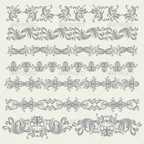 Vintage Decorative Floral Elements Set - Flourishes / Swirls Decorative