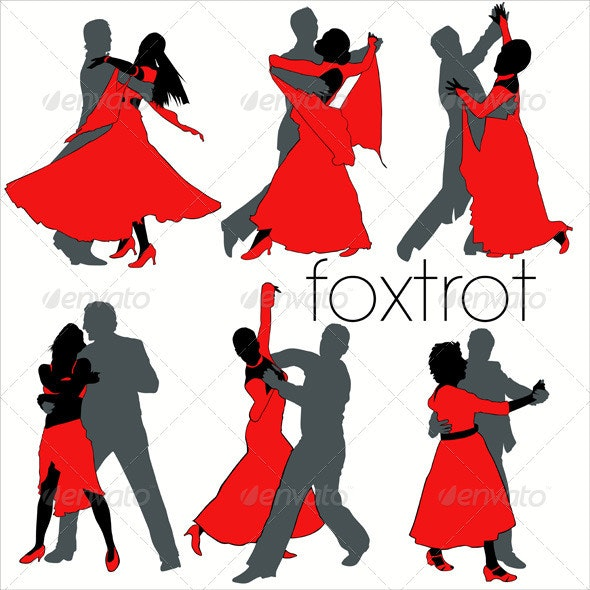 Foxtrot Dancers Silhouettes Set - People Characters