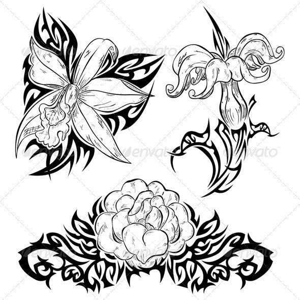 Tattoo with flowers - Tattoos Vectors