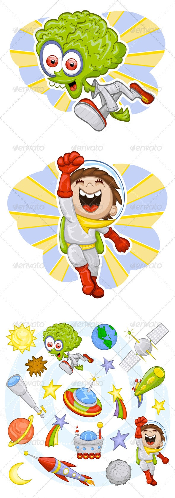 Outer space illustration set - Characters Vectors