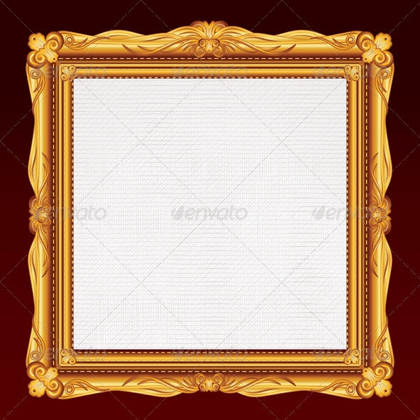 Antique Gold Frame with Blank Canvas. Vector - Borders Decorative