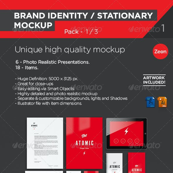 Brand Identity | Stationary Mockup - Pack:1/2