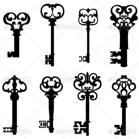 Old Keys Set in Retro Style