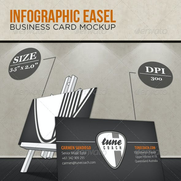 Infographic Easel Business Card Mockup