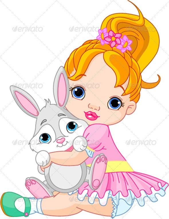 Little girl hugging toy bunny  - People Characters