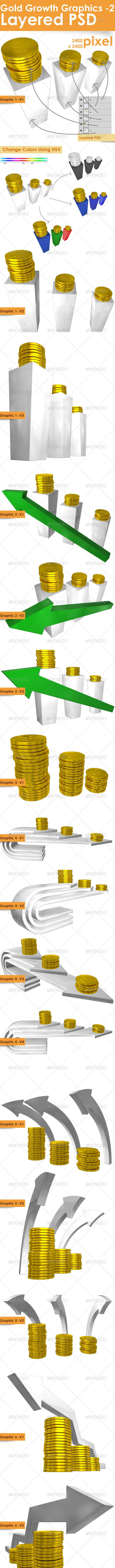 Gold Growth Graphic Set - 3D Backgrounds