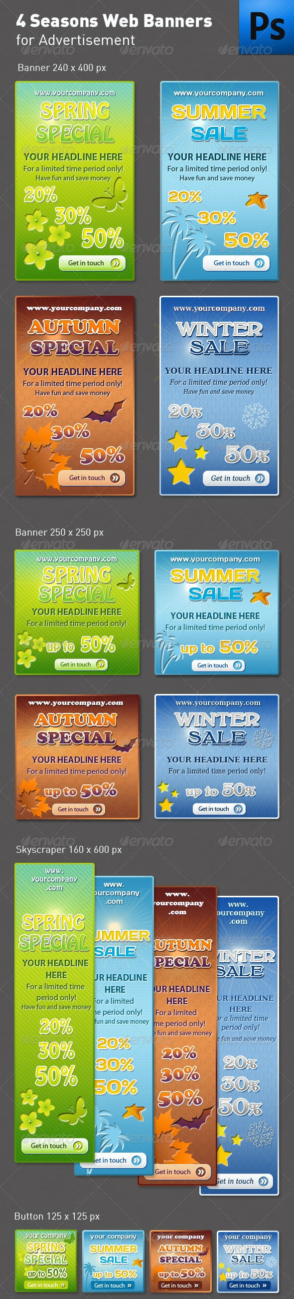 Seasons Web Banners or Boxes - Banners & Ads Web Elements
