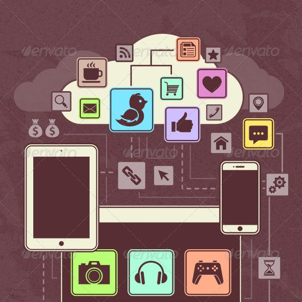 Gadgets Icons in a Network Cloud