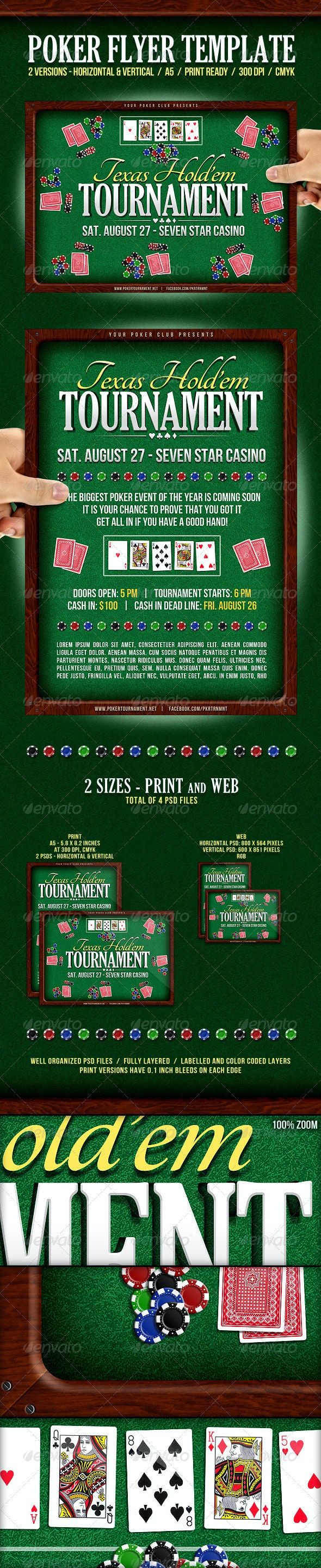 Poker Event Flyer | Horizontal & Vertical versions - Sports Events
