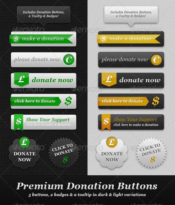 Premium Donation Buttons - Light & Dark - Buttons Web Elements