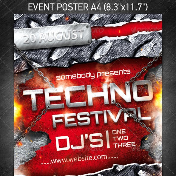 Techno Festival Event Poster
