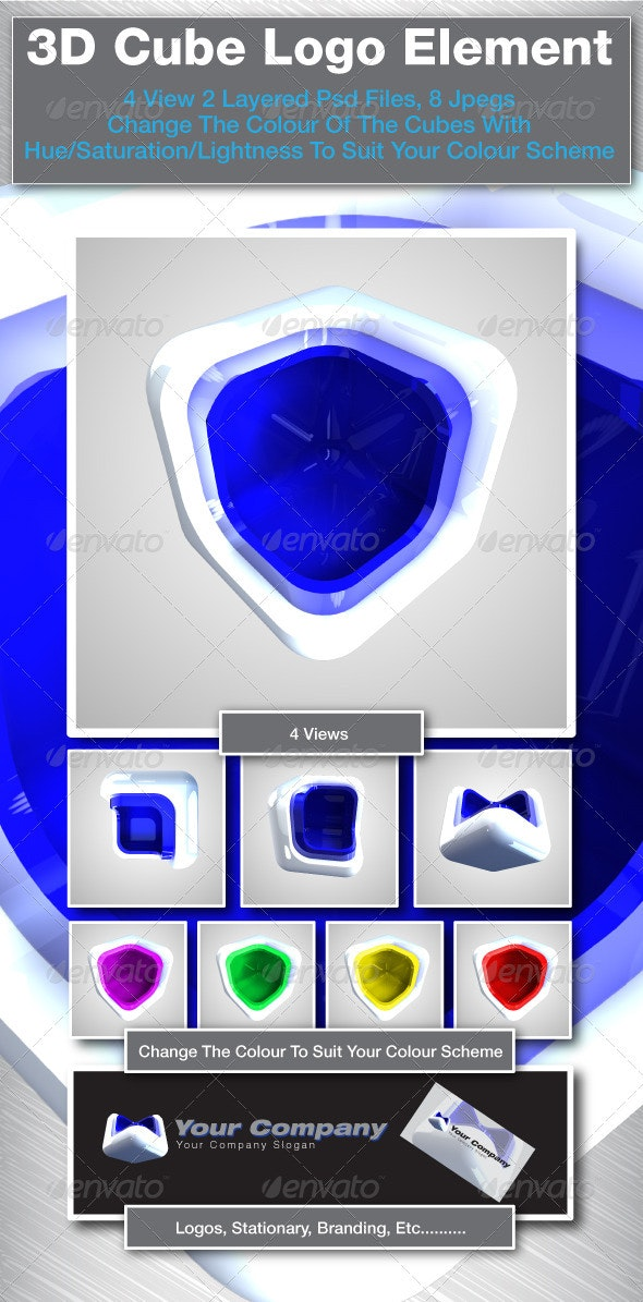 3D Cube Logo Elements - 3D Backgrounds