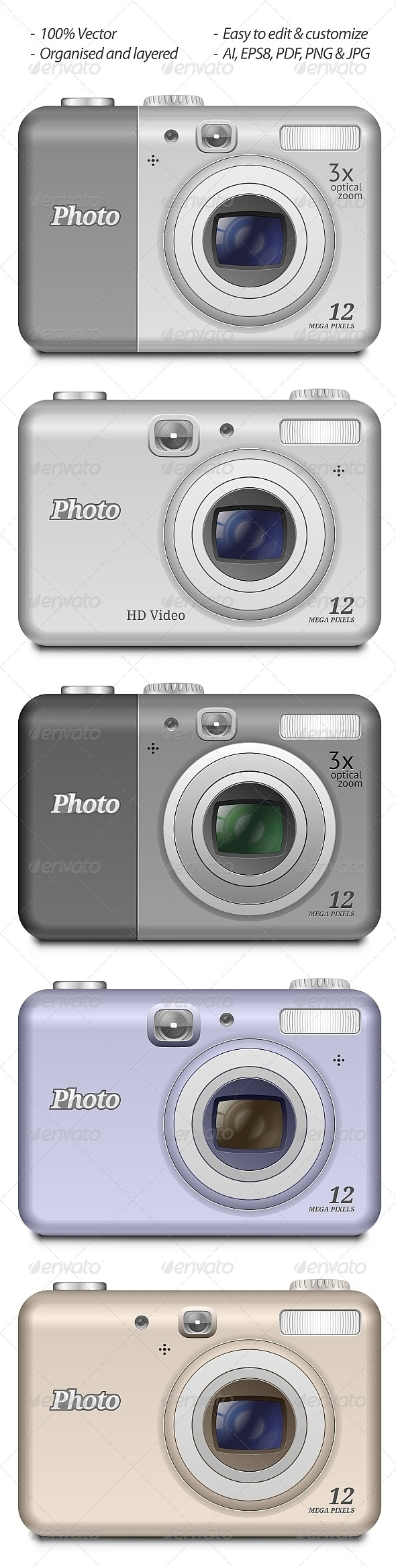 Vector Digital Compact Camera - Objects Vectors