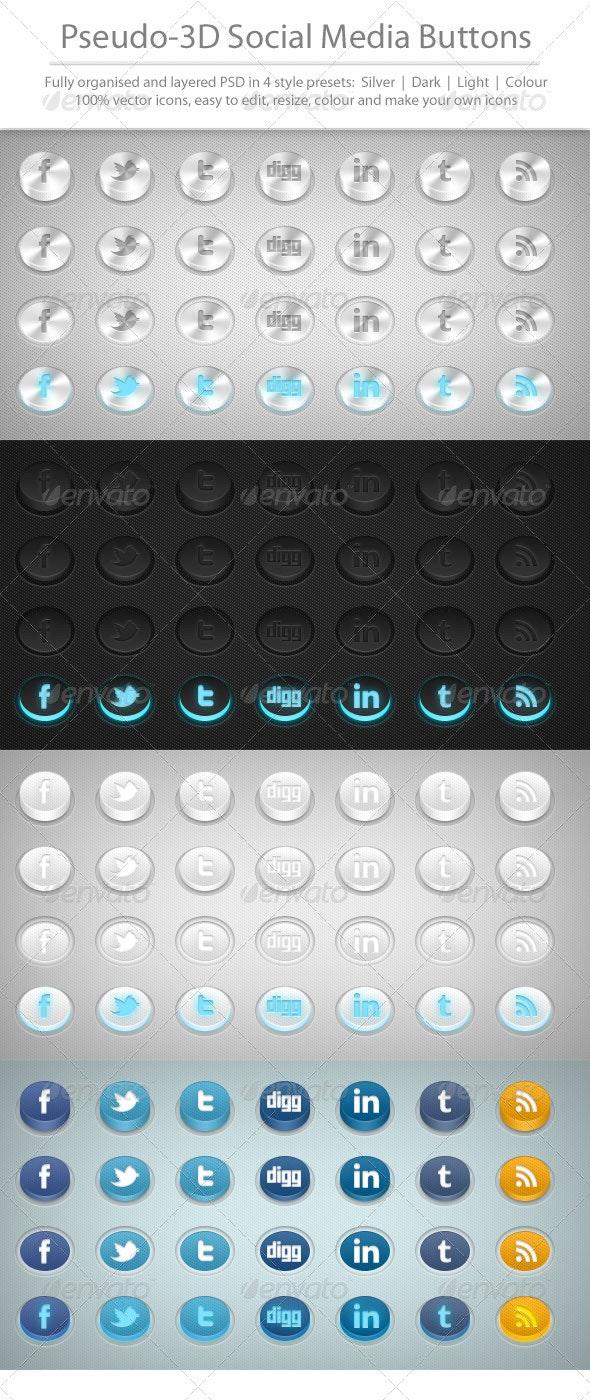 3D Social Media Buttons - Buttons Web Elements