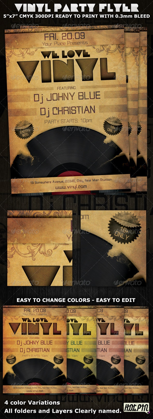 Love Vinyl Party-Club Flyer Template - Clubs & Parties Events