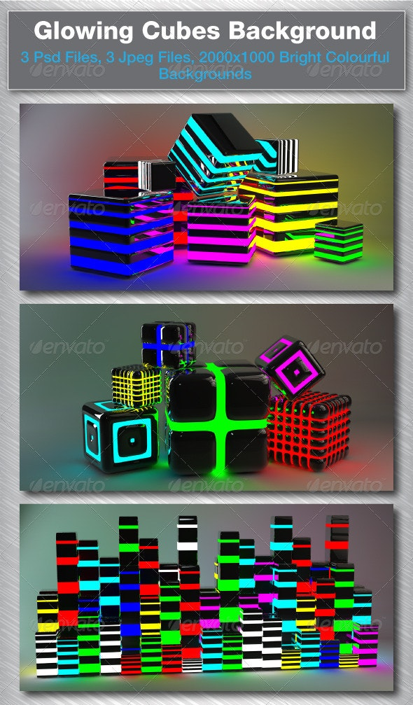 3D Glowing Cubes - Backgrounds Graphics