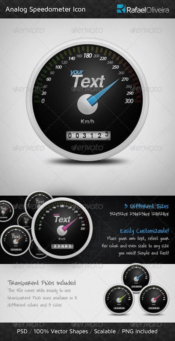 Analog Speedometer Icon - Technology Icons