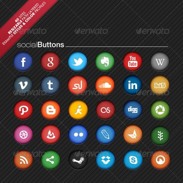 Colorful Social Network Buttons