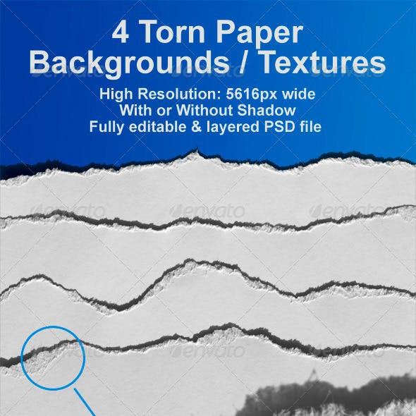 4 Realistic Ripped Paper Backgrounds / Textures