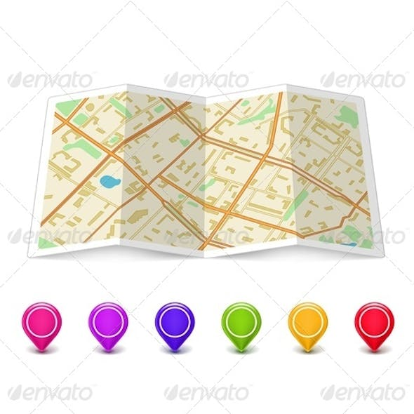 Map Icon with Pin Pointers