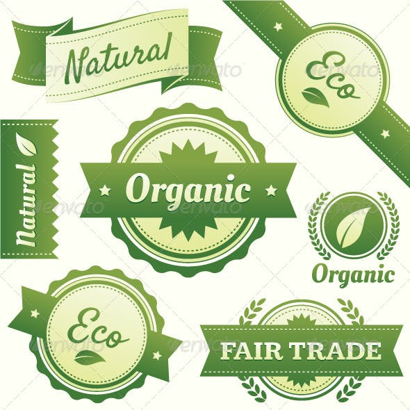 Natural, Organic, Eco, & Fair Trade Vector Labels