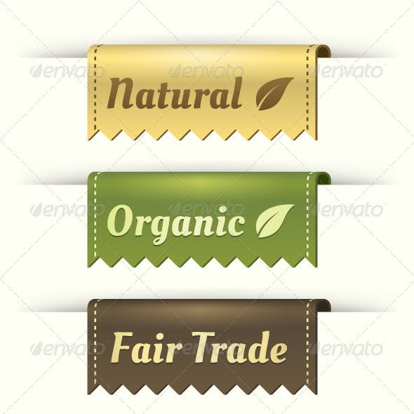 Natural, Organic, & Fair Trade Vector Label Folds