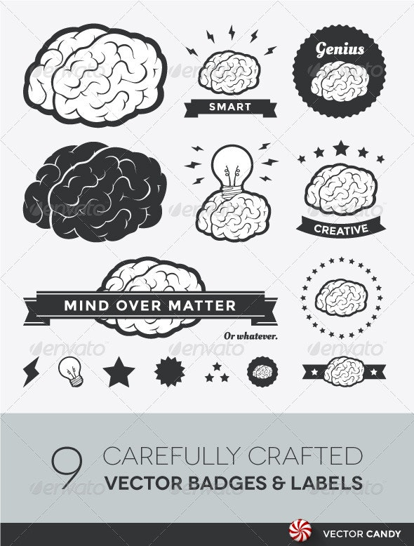 Vector Brain Badges and Label Collection - Vectors
