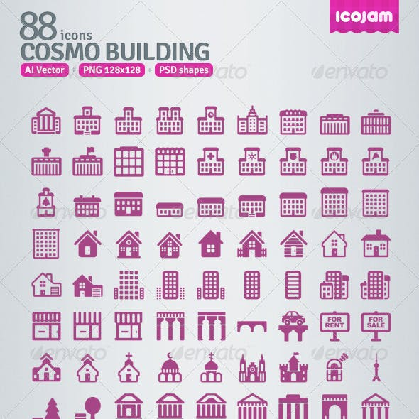 88 AI and PSD Building Icons