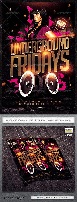 Underground Fridays Flyer - Clubs & Parties Events