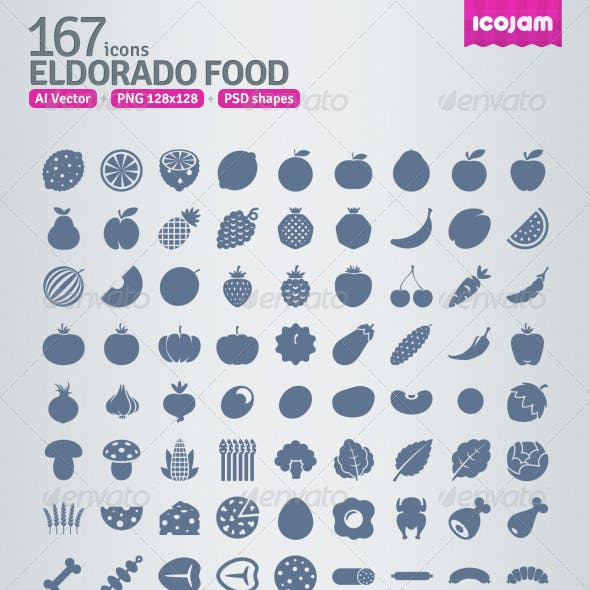 167 AI and PSD Food strict Icons