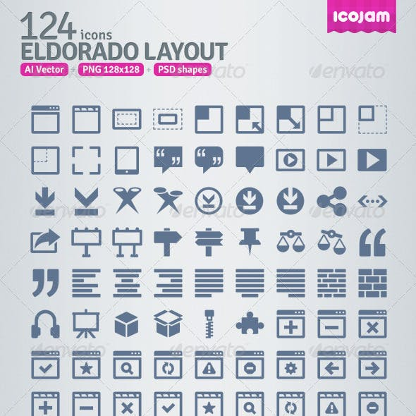 124 AI and PSD Layout strict Icons