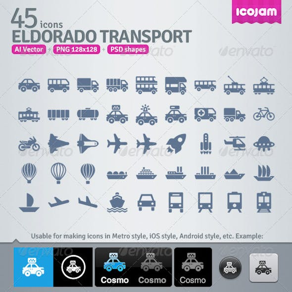 45 AI and PSD Transport strict Icons