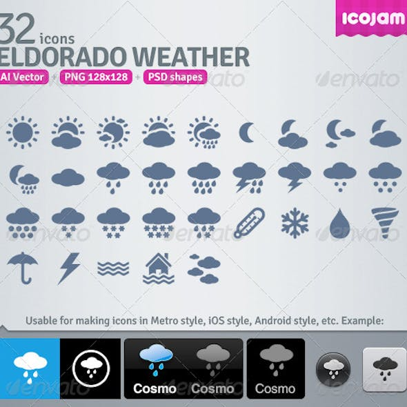 32 AI and PSD Weather strict Icons