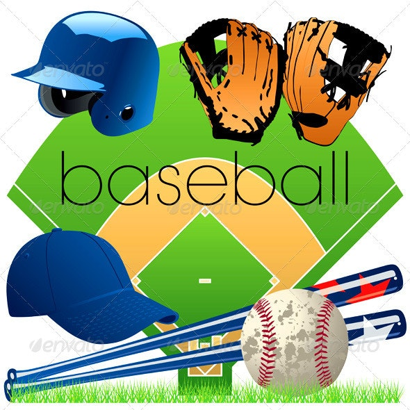 Baseball Equipment Vector Set - Sports/Activity Conceptual