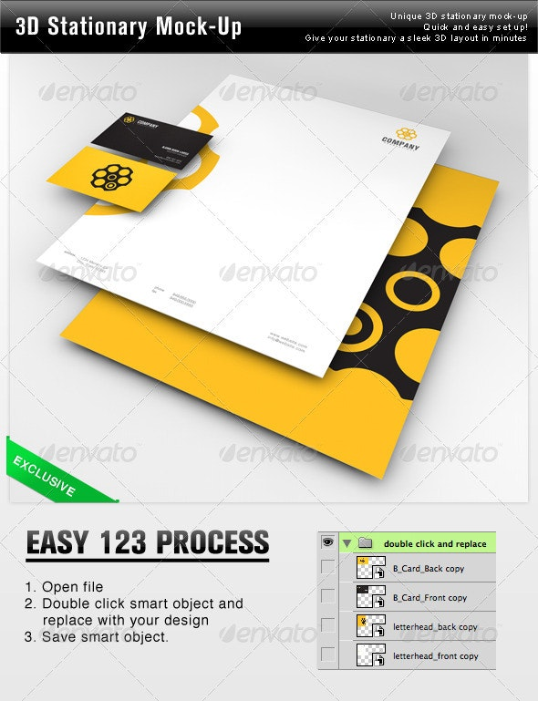 3D Stationary Mock-Up - Stationery Print