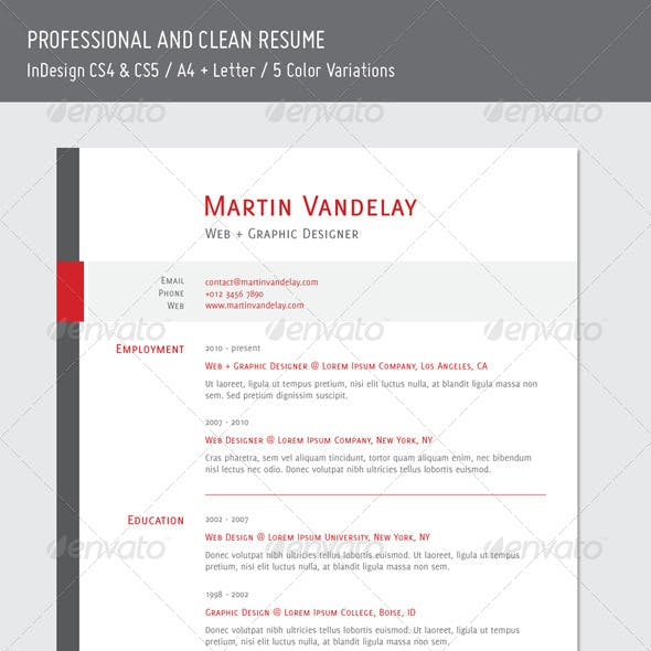 Professional and Clean Resume - 5 Colors
