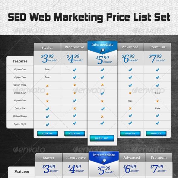SEO Web Marketing Price List