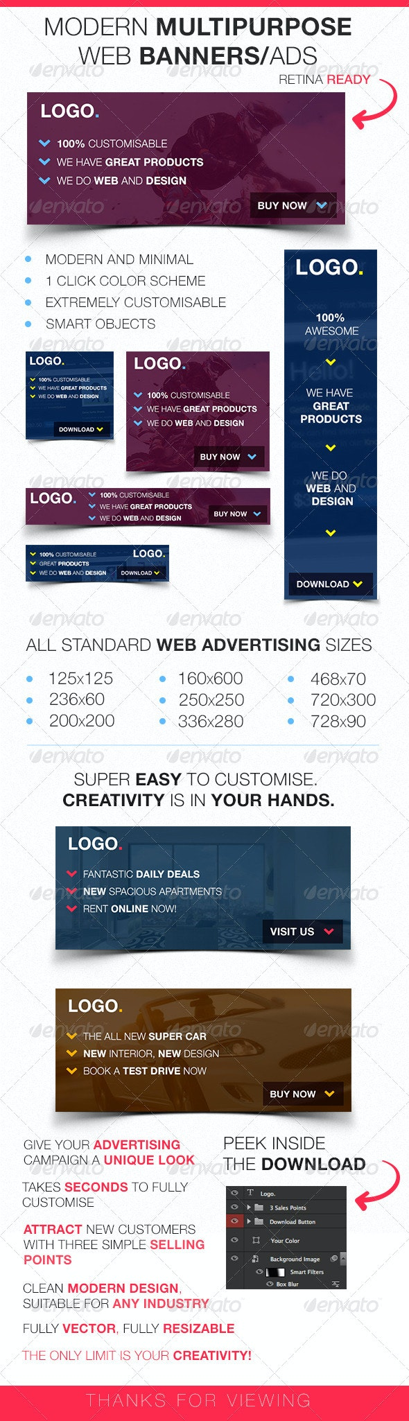 Modern Multipurpose Web Banners/Ads - Banners & Ads Web Elements
