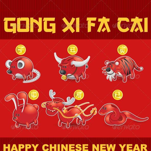 Chinese Zodiac Rat,Ox,Tiger,Rabbit,Dragon,Snake